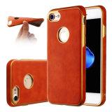 Caja suave del teléfono de TPU para la caja del petróleo del metal del iPhone 6 6splus 7 7plus TPU para la caja de cuero de la galaxia J5 J7 de Samsung (XSDD-085)