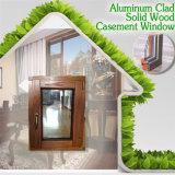 Janela de cassete de efeito de madeira perfeita sem manutenção, janela de batente de alumínio revestida de madeira de teca de alta qualidade