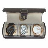 Schlitze des Zylinder-3 überziehen Uhr-und Schmucksache-Kasten mit Leder