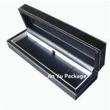Negro regalo de madera de joyería de imitación de cuero de embalaje caja de la caja pendiente