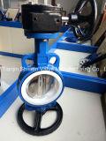 Válvula de borboleta da bolacha do assento do corpo PTFE do ferro de molde com engrenagem de sem-fim