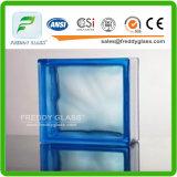 Bloco de vidro modelado azul/verde/ondinha desobstruída/tijolo de vidro cubo desobstruído da água/vidro do tijolo para a decoração (G-B)