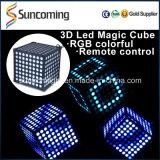 Cubo colorido del disco 3D LED de la decoración del banquete de boda