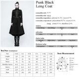 Revestimentos longos góticos cabidos do delírio do punk das senhoras da forma Y-777 preto novo