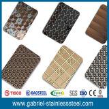 Venta al por mayor 304 lista de precios de la hoja decorativa del acero inoxidable de 316 lasers