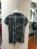 Рубашка пола человека способа Pirnt Splatter листьев с воротом стойки в износе спортов человека одевает Fw-8651