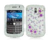 Perle pourpre Rose de cas en cristal de série de décorums pour Blackberry 9000