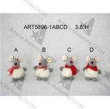 мышь Ornaments-4asst украшения рождества ватки 3.5 '' h