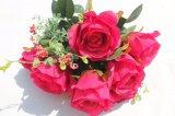 Silk künstliche rote Rosen-Blumen für Wedding Decortion