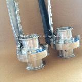 Válvula de borboleta sanitária com máquina do CNC da conexão da braçadeira do punho 304/316L Tc do aço inoxidável a multi