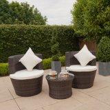 テラスの庭のバルコニーは藤の快適なクッション、販売の家具のためにセットされるソファーが付いている穏かなソファーの椅子のあたりで議長を務める