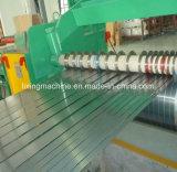 Hoja de acero industrial que raja y línea máquina el rebobinar