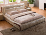 Кровать неподдельной кожи новой шикарной конструкции самомоднейшая (HC902) для спальни