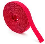 벨크로 케이블 동점은 주문 크기 빨간 까만 색깔을 착색한다