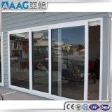 Blanc/noir/gris/porte en verre de glissement en aluminium bâti de Brown