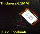 3.7V batería de polímero de litio 550mAh 062 338 612 338 MP3 MP4 GPS Bluetooth 6.1 * 23 * 38mm pequeña pila de litio estéreo Bluetooth GPS