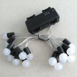 Lumière blanche équipée imperméable à l'eau de bonne qualité de chaîne de caractères de l'ampoule DEL de fil argenté de caisse de batterie