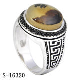 925 Silver New Model Natural Agate Man Ring Black CZ Men Rings