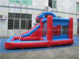 子供の警備員、プールが付いている膨脹可能な水スライド