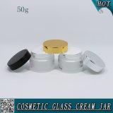 50ml de berijpte Kosmetische Container van de Room van het Glas met de Kruiken van het Glas van het Deksel van het Aluminium