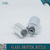 30ml Cosmetic Liquid Essence Sérico Dropper Garrafa Silver Color Essential Oil Bottle