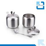 4 parti rotative dell'acciaio inossidabile del contenitore della spezia e vaso del pepe nero & del sale con la cremagliera stabile
