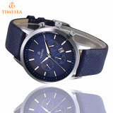 Relógio de pulso de couro azul 72501 do Analog de quartzo dos homens
