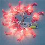Luz feericamente a pilhas da corda de 10 flamingos para a decoração do jardim