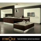 Шкаф основания Veneer вертикального зерна естественный с белыми высокими шкафами стены лоска и черным Countertop Tivo-0210h