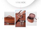 Caja funcional del vino de la maneta del cuero del ocio con la cremallera
