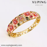 Spätester Goldrhinestone-grosses breites Blumen-Armband der Form-Bangle-124