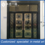 Custom Titanium Black e Golden Coasted Steel Metal Entrace Door