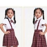 camisa de algodón 100%Cotton y uniforme escolar blancos de los cabritos de la falda del escocés