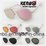 Óculos de sol redondos plásticos do frame da liga do metal com sobrancelha Km1096