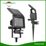 Luz accionada solar ajustable del jardín de la seguridad del sensor de movimiento de la lámpara del paisaje de la luz de inundación del brillo 30 LED con el punto de puesta a tierra