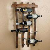 Деревянный интерьер мебели полки вина стены держателя хранения бутылки вина