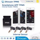 Bluetooth TPMS Gummireifen-Druckanzeiger-Überwachungsanlage mit 4 internen drahtlosen Fühlern