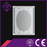 Espelho inoxidável da prata do banheiro do frame com luz do diodo emissor de luz