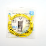 Желтый цвет PVC двуустки пропуска шнура заплаты 7*0.2mm CAT6 2m Bc