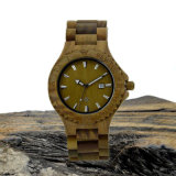 Houten Horloge van het Sandelhout van de Greep van het roestvrij staal het Groene