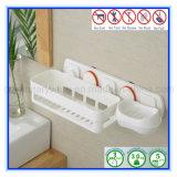 Crémaillère dispensante de mémoire en plastique multifonctionnelle de salle de bains avec la cuvette d'aspiration de vide d'air