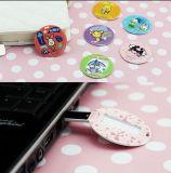 Cercle estampé personnalisé/lecteurs flash ronds de la carte de visite professionnelle de visite USB 4GB