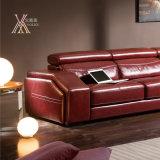 Il sofà di cuoio rosso ha impostato con il poggiacapo registrabile (828)