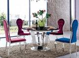 vidrio de la mesa redonda 1.3meter en los muebles superiores del hogar del vector de cena