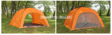 Tente à une seule couche, tente campante orange de 4 personnes