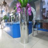 ホテルのロビーの通路のドアのステンレス鋼の花立場の金属の植木鉢