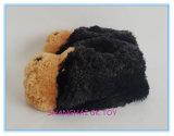Plüsch-Winter-Hefterzufuhr-schwarzer Hundeinnenschuhe