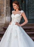 0027 a - линия втулка крышки видит до конца Backless платья венчания шнурка Appliques Sequins поезда собора