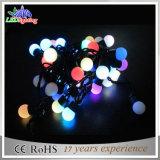 Luz de borracha da corda da esfera do diodo emissor de luz RGB do fio do ornamento ao ar livre do Natal