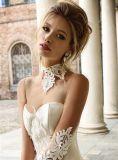 Платье венчания слоновая кости 0008 только уникально с шеей поезда собора высокой